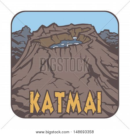 Vector image of a volcano Katmai on the background of nature and sky.square color thumbnail icon