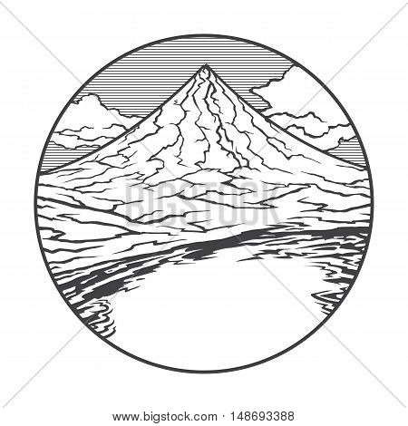 Vector image of a volcano Mayon on the background of nature and sky.round black white icon thumbnail