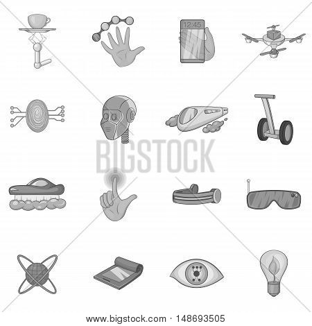 New technologies icons set in black monochrome style. Innovative apps and gadgets set collection illustration