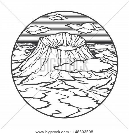 Vector image of a volcano Tambora on the background of nature and sky.round black white icon thumbnail
