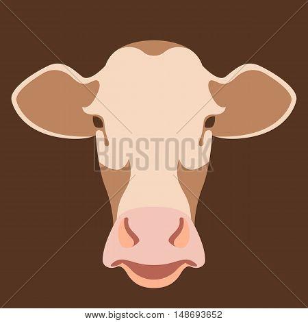 Cow head face vector illustration style Flat