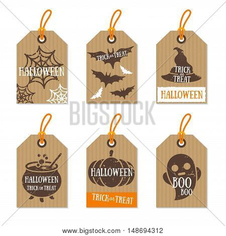 Set of Retro Halloween Gift Tags. Vector Illustration. Cardboard Texture with Holiday Symbols