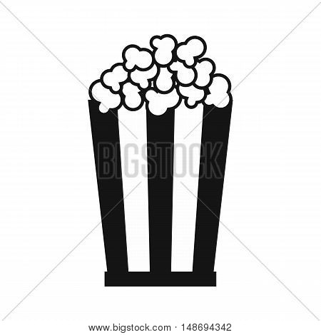 Popcorn in striped bucket icon in simple style on a white background vector illustration