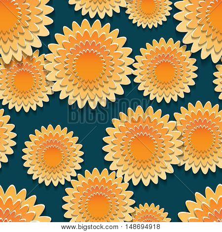 Seamless pattern with big orange flowers design. Vetor illustration