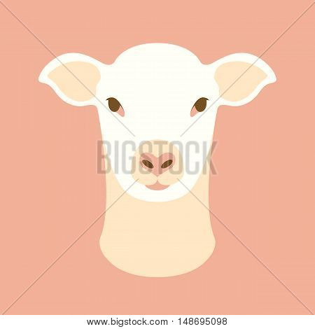 sheep head face vector illustration style Flat