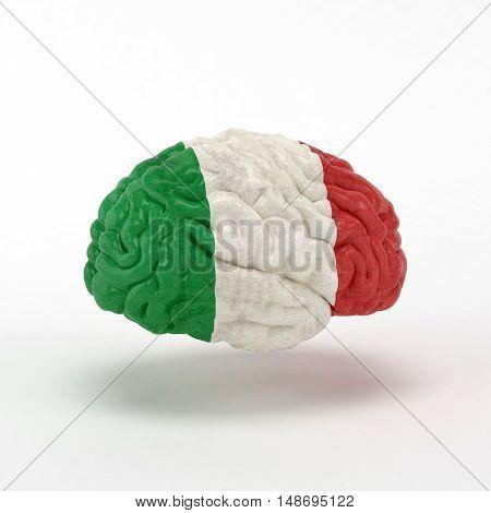 Italy Flag on Human brain. 3D illustration.