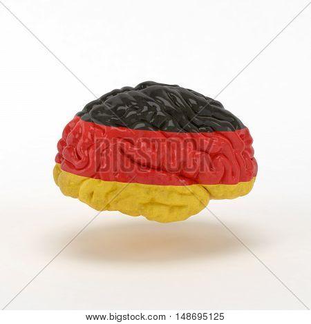 Germany Flag on Human brain. 3D illustration.