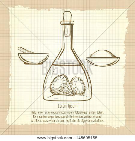 Vintage sketch of science lab equipment. Alchemy secret of diamond vector illustration