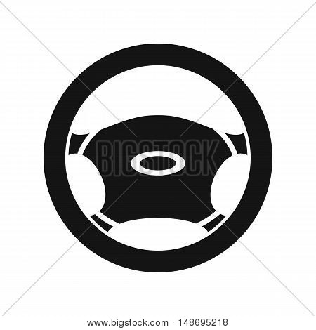 Steering, wheel icon in simple style on a white background vector illustration