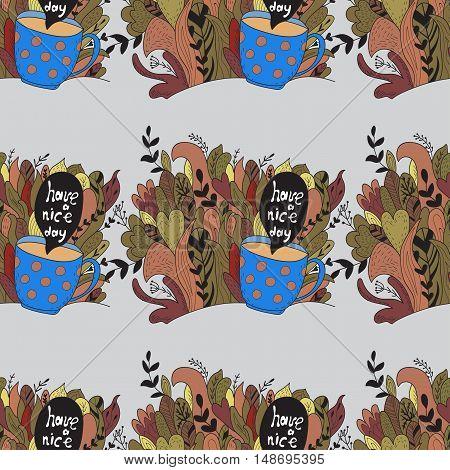 Autumn doodles. Fall. Cute vector seamless pattern