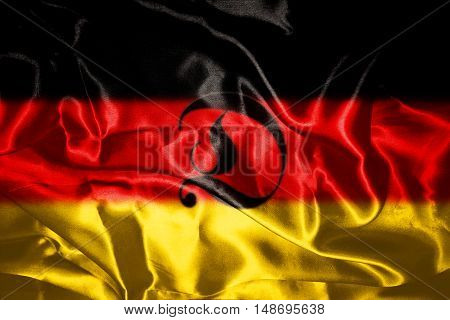 Ruffled Germany Flag Blowing in Wind With Letter D On It