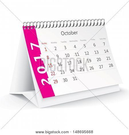 October 2017 desk calendar - vector illustration