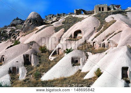 Unique geological formations in Pigeon Valley, Cappadocia, Turkey.