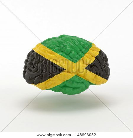 Jamaica Flag on Human brain. 3D illustration.