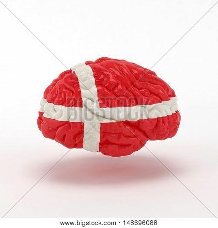 Denmark Flag on Human brain. 3D illustration.