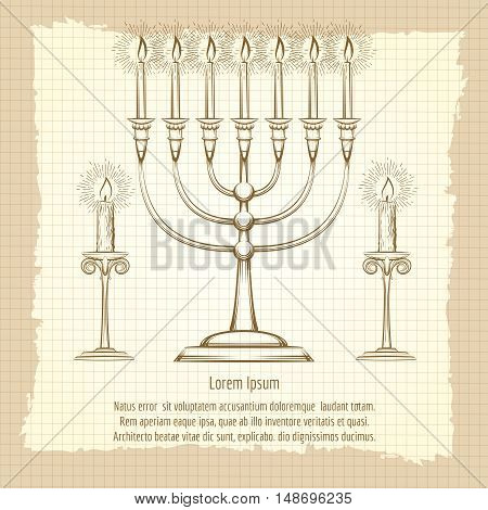 Vintage poster with hand drawn candles on notebook background. Vector illustration