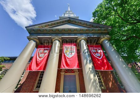 Boston, Massachusetts - September 5, 2016: Memorial Church at Harvard University campus in Cambridge Massachusetts