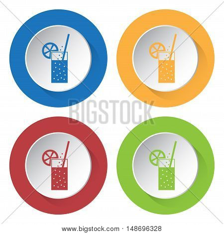 set of four colored icons - glass with carbonated drink straw and citrus