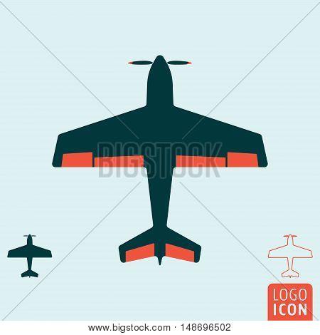 Plane icon. Light aircraft or sport airplane symbol. Vector illustration