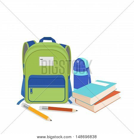 vector illustration of School bag with education objects.Back to schoolbookpencilwater bottleisolated on white background