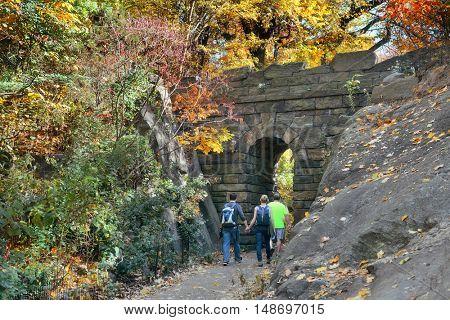 Stone Bridge in Central Park in woods, New York City midtown Manhattan