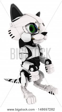 Robotic kitten sitting pose 3d illustration vertical isolated