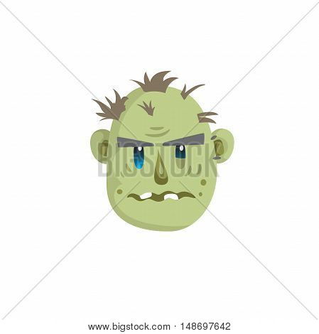 Zombie head scary emotion icon isolated on white background. Halloween avatar simple gradient vector.