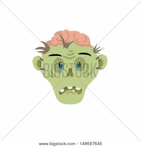 Zombie head disapointed emotion icon isolated on white background. Halloween avatar simple gradient vector.