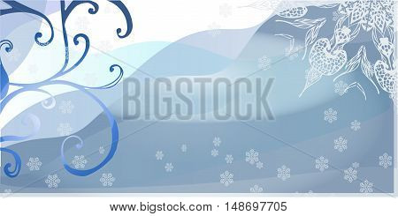 abstract background - a winter landscape with tree and snowflakes. Greeting card with Christmas tree and place for text