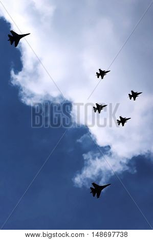 Military Fighter Jets Flying In A Formation