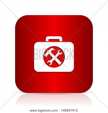 toolkit red square modern design icon