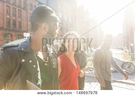 Mixed Race Group Walking In Hamburg