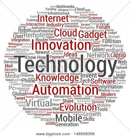 Concept or conceptual digital smart technology circle word cloud isolated on background