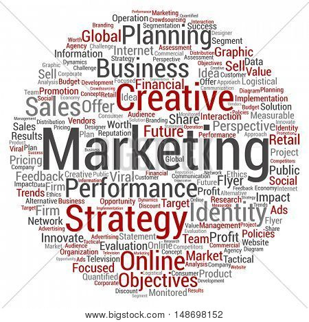 Concept or conceptual business marketing circle word cloud isolated on background