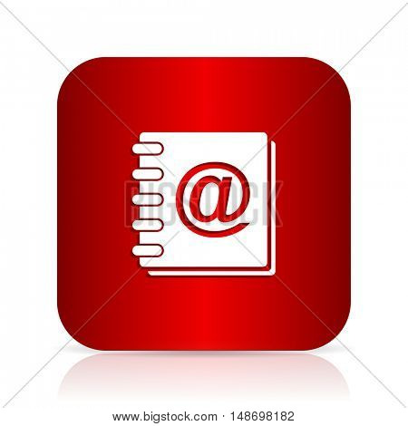 address book red square modern design icon