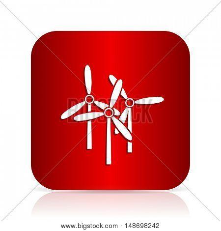 windmill red square modern design icon