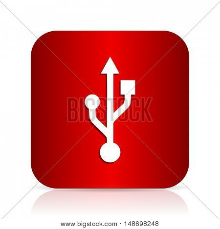usb red square modern design icon