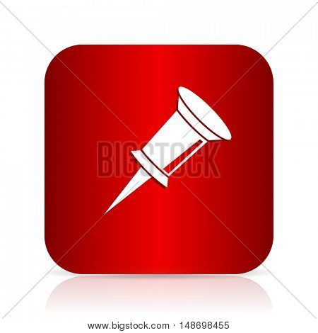 pin red square modern design icon