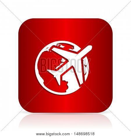 travel red square modern design icon