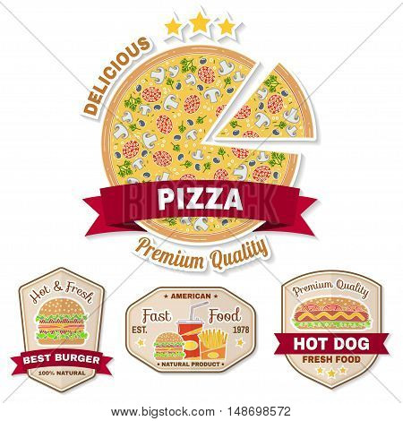 Vintage Fast Food Badge, Banner Or Logo Emblem.