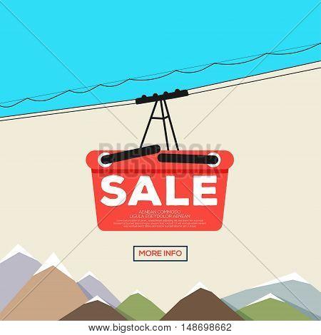 Poster of sale. Shopping basket funicular. Vector illustration