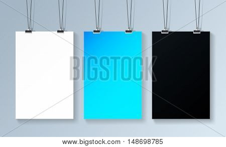 Three poster mockup hanging on the wall. Three posters template for your presentation etc. mockup