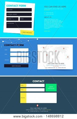 Set of contact form for Website. Registration contact form. Template for website. Feedback form. Vector illustration