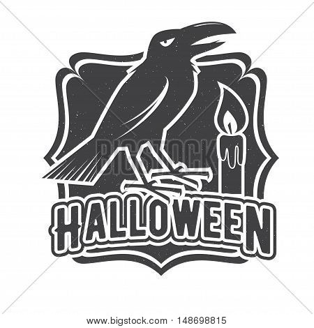 Halloween vintage badge, emblem or label. Vector illustration. For print on t shirt, tee, card, invitation, template. Halloween crow and candle.