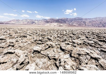 Vast salt desert of Devil's Golf Course in Death Valley National Park. California, USA