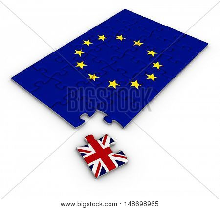 Jigsaw puzzle with the national flag of Great Britain and European Union. Brexit concept. 3D illustration.