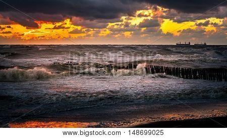 Beautiful sunset Black sea. Gold sea sunset. Sea sunset background. . Sunset sea waves.