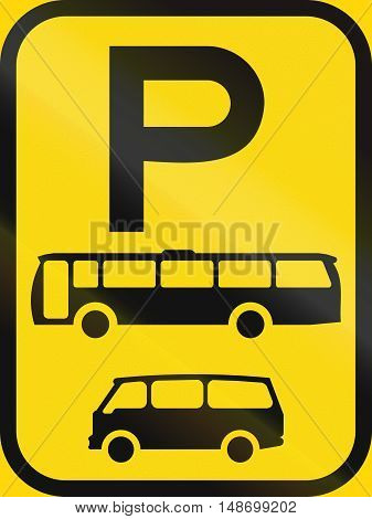 Temporary Road Sign Used In The African Country Of Botswana - Parking For Buses And Mini-buses