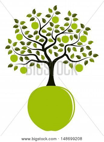 vector apple tree growing from apple isolated on white background