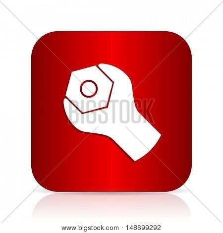 tools red square modern design icon
